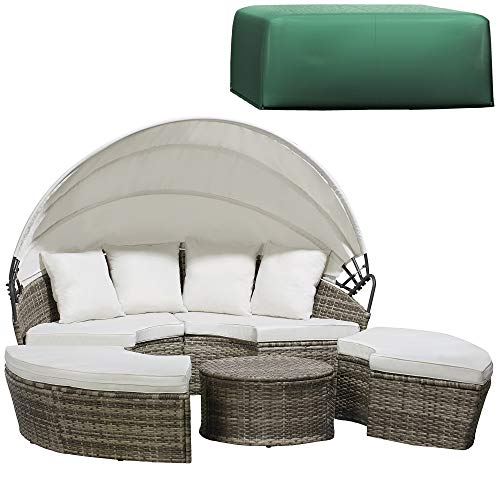 Garden Gear 180cm Rattan Daybed with Table 4 Piece Outdoor Furniture Set & Cover with Extendable Canopy & Cushions Included (Tonal Grey)