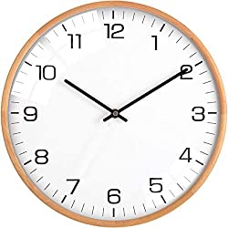Driini Analog Dome Glass Wall Clock (12) - Wood Frame with White, Modern Face - Battery Operated with Non Ticking Hands - Large Decorative Clocks for Classroom, Office, Living Room, or Bedrooms.