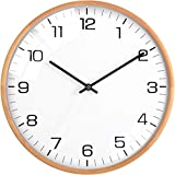 """Driini Analog Dome Glass Wall Clock (12"""") - Wood Frame with White, Modern Face - Battery Operated with Non Ticking Hands - Large Decorative Clocks for Classroom, Office, Living Room, or Bedrooms."""