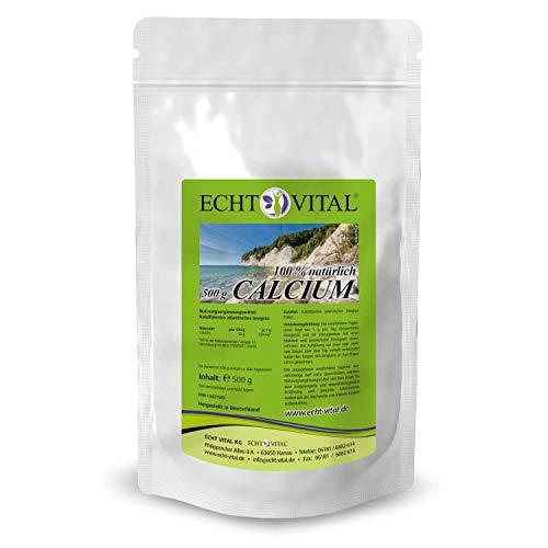 ECHT VITAL Calcium Pulver - 1 Beutel mit je 500 g natürliches Calcium aus der Lithothamnium Rotalge -Pflanzlich & rein - Für normale Knochen und Zähne