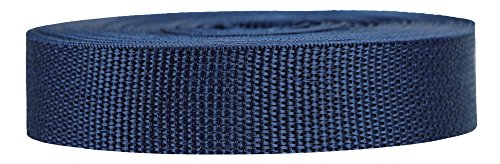 Strapworks Lightweight Polypropylene Webbing - Poly Strapping for Outdoor DIY Gear Repair, Pet Collar, Crafts - 1 Inch x 10 Yards - Navy Blue