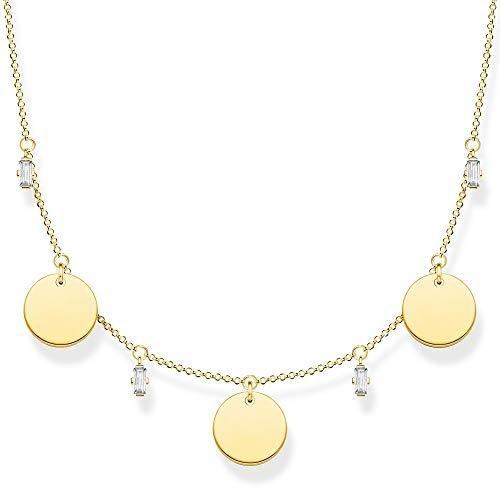 Thomas Sabo Collar de mujer con tres monedas y piedras blancas doradas de plata de ley 925, 40-45 cm de longitud