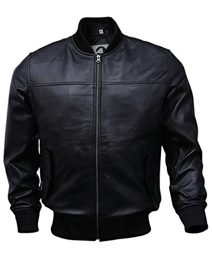 Varsity Bomber Leather Jacket Men | Genuine Lambskin Baseball Flight Jacket (Black, Medium)