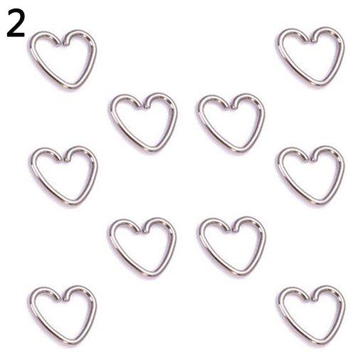 Quanjucheer Piercing da naso Orecchini a perno, 10 pezzi punk cuore stella elica cartilagine trago daith gioielli argento 2