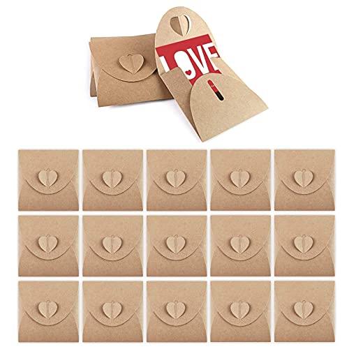 50 Piezas Sobres de Papel Kraft en Blanco, Sobres de Papel Kraft, Sobres de Corazón, Mini Sobres, Sobre de Regalo con Papel...