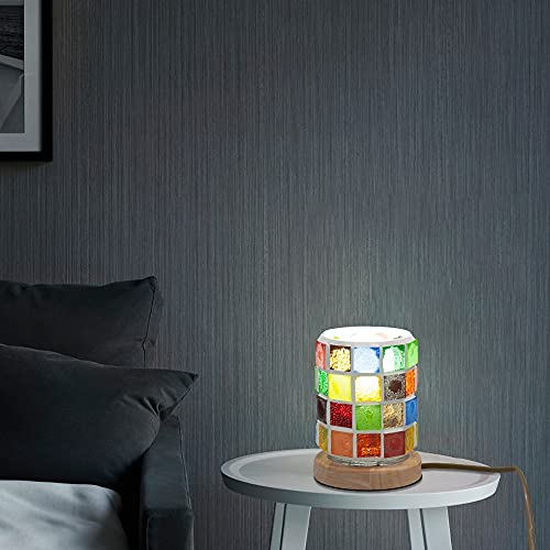 Xyxiaolun Lámpara de mesita de Noche de Vidrio Mosaico para Estudio de Dormitorio, Lectura en casa, Luces de Noche Estilo Tiffany, luz de Escritorio LED E27 Dormitorio, Sala de Estar