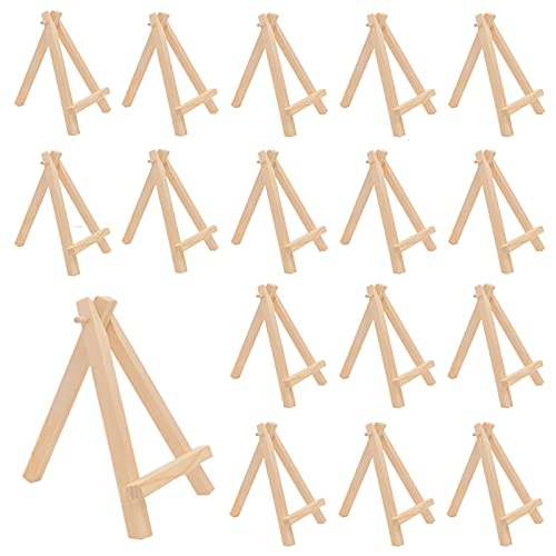 16 Pack Mini Wooden Display Easel,Tabletop Display Easels,6.4 Inch Natural Wooden Painting Easel for Student DIY Project,Photo,Picture Display,Home Decoration
