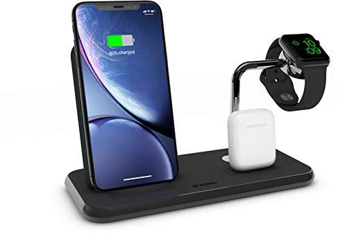 ZENS Qi/Mfi-zertifizierter 3fach Aluminium Wireless Charger Schwarz, Für Apple iPhone 8/8 Plus/X/Xr/Xs/Xs Max/11/11 Pro/11 Pro Max/SE 2020, Apple Watch, Apple AirPods & alle Qi-fähigen Telefone