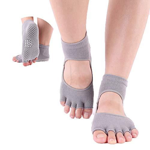 ThreeH Yoga Calcetines Antideslizantes Cinco dedos para mujeres Yoga Pilates Dance Ballet Pies abiertos Atrás 2 pares Tamaño4.5-7