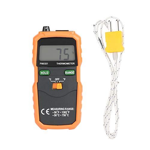 Termómetro digital, termómetro electrónico con sonda de termopar tipo K y pantalla LCD, unidad doble, función de almacenamiento de datos, adecuado para el hogar, la industria y el comercio