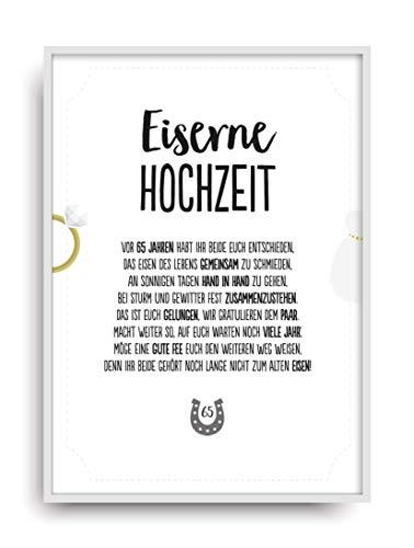 Geschenk Karte EISERNE HOCHZEIT Kunstdruck 65. Hochzeitstag Eisen Brautpaar Bild ohne Rahmen DIN A4