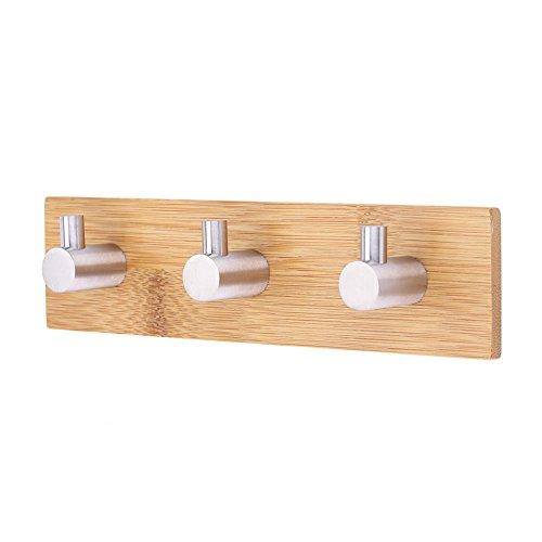 Bambus Klebehaken, Edelstahl, massiv Dekorative Bambus Rack Reling-Tasche Wand Aufhänger Haken für Home Kitchen Mäntel Mützen Schlüssel Handtuch