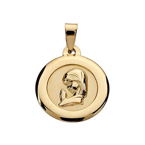 Medalla Oro 9K Virgen Niña 18mm. Lisa Redonda Cerco Liso - Personalizable - Grabación Incluida En El Precio