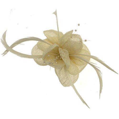 Acosta–marfil de plumas y cuentas corsé de malla–broche/Clip de pelo/Tocado