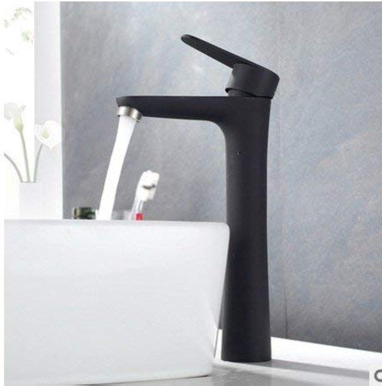 Oudan Simple and Stylish Matte Black Matte Full Copper Kitchen Faucet Hot and Cold Wash Basin Mixer Bathroom Basin Faucet Ceramic Valve Core, Black B Models (color   Black Paragraph C, Size   -)