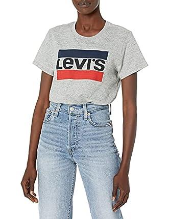 Levi's Women's Perfect Graphic Tee Shirt, Sportswear Logo Smokestack Heather, Small