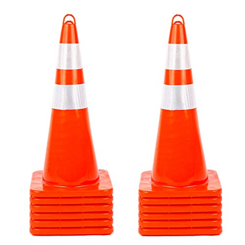 12Pack Traffic Safety Cones 28'' inches with Reflective Collars, Unbreakable PVC Orange Construction Cone for Traffic Control, Driveway Road Parking