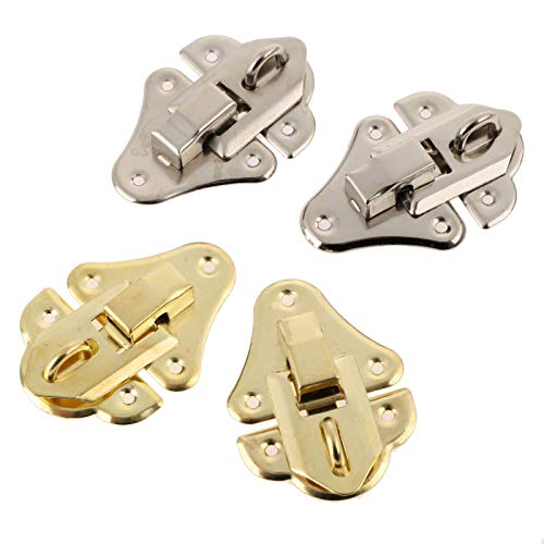 2Pcs Antique Silver Box Latches Decorative Hasp Latch Toggle for Jewelry Wooden Box Suitcase w/Screw Furniture Hardware 48 * 35mm Gaodpz (Color : A)