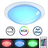 Plafón LED regulable I Lámpara de techo LED multicolor I 16 colores seleccionables con mando a distancia I Ø28cm 12W I...