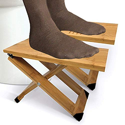 Bamboo Bathroom Stool (1 Pair) with Travel Bag, Folding Squatting Stools with Adjustable Heights to Elevate Legs7, 8