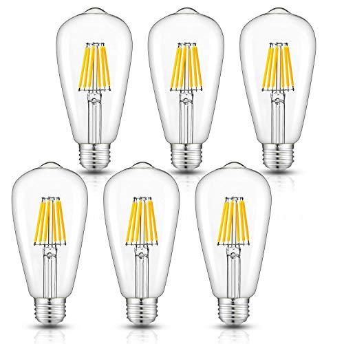 CRLight Dimmable LED Edison Bulb, 3000K Soft White, 60W Equivalent 600 LM, 6W Filament LED Light Bulbs, E26 Medium Base, ST64 Vintage Edison Clear Glass Lightbulbs, Pack of 6