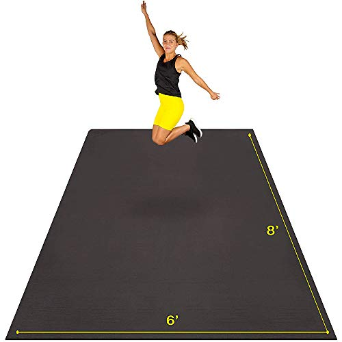 Large Exercise Mat 8' x 6' x 7mm   Ultra-Durable Non-Slip Rubber Workout Mat for Home Gym Flooring   Ideal for Cardio, Fitness, Plyo, MMA and Yoga   Jump Rope and Storage Bag Included - Black