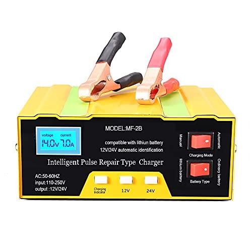 Arrancador De Coches 1 2V / 24V Cargador de batería Tipo de reparación de pulsos inteligente con pantalla digital para batería de motocicleta de celular de coche (Color : C)