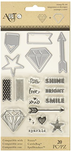 Momenta Stamp & Die-Cut Set - Diamonds - Easy-to-Cut Stylish Embellishments and Salutations for Greeting Cards and Scrapbooks