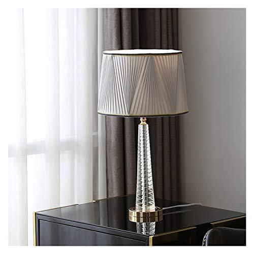 Lámpara de escritorio para sala de oficina Shade Lámpara de mesa moderna del remolino estriado gris cristalino del tambor for el dormitorio de la sala de la familia de noche Mesilla de noche Lámpara d