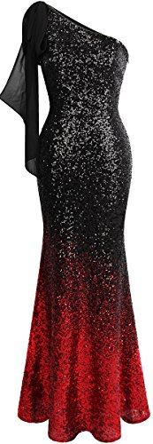 Angel-fashions Women's Asymmetric Ribbon Gradient Sequin Mermaid Long Prom Dress