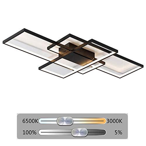 LED Deckenlampe Wohnzimmer 105cm Design Decke Dimmbar Lampe Modern Schick Deckenleuchter Acryl - Panel Metall Lampe Bürolampe Schlafzimmerlampe Esszimmerlampe Balkonlampe 72W mit Fernbedienung