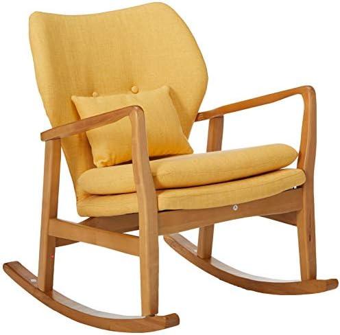 Best Christopher Knight Home Benny Mid-Century Modern Fabric Rocking Chair, Muted Yellow / Light Walnut