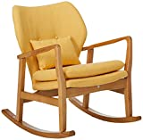 Christopher Knight Home Benny Mid-Century Modern Fabric Rocking Chair, Muted Yellow / Light Walnut