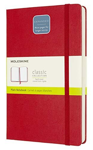 Moleskine - Cuaderno Clásico con Hojas en Blanco, Tapa Dura y Cierre con Goma Elástica, Tamaño Grande 13 x 21 cm, Color Rojo Escarlata, 400 Páginas