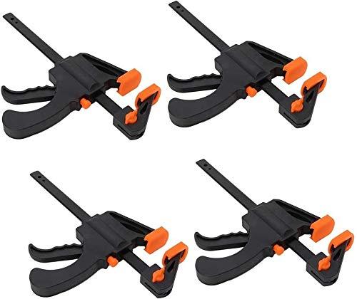 Abnaok 4 Stück Einhandzwinge Schnellspannzwinge, Schraubzwingen Set für Präzises Fixieren von kleinen Werkstücken (4 inches)