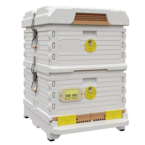 Apimaye Ergo Plus 10 Frame Langstroth Insulated Bee Hive Set with Plastic PRO Frames (White)