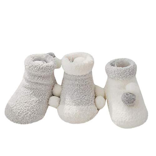 Salalook 3 stuks 0 – 3 jaar herfst winter kinderen koraal-fleece Newbie-tekening auto baby vloer sokken paar