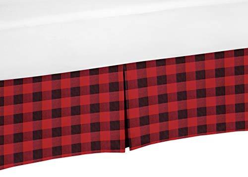 Sweet Jojo Designs Woodland Buffalo Plaid Boy Pleated Baby Nursery Crib Bed Skirt Dust Ruffle - Red and Black Rustic Country Lumberjack