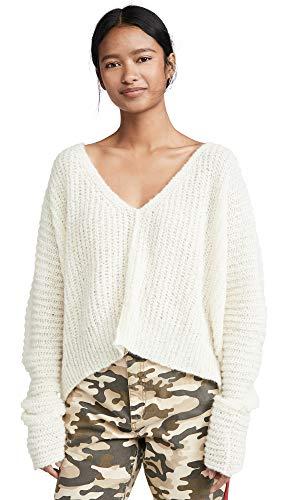 Free People Women's Moonbeam Alpaca Sweater, Ivory, Off White, Large