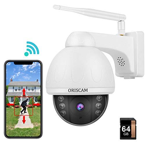 Cámara IP Exterior WiFi Cámara de Vigilancia 1080P con Visión Noturna 15M, Notificación de Alerta, Cámara de Seguridad P/T Impermeable, Audio Bidireccional, Detección de humanoide