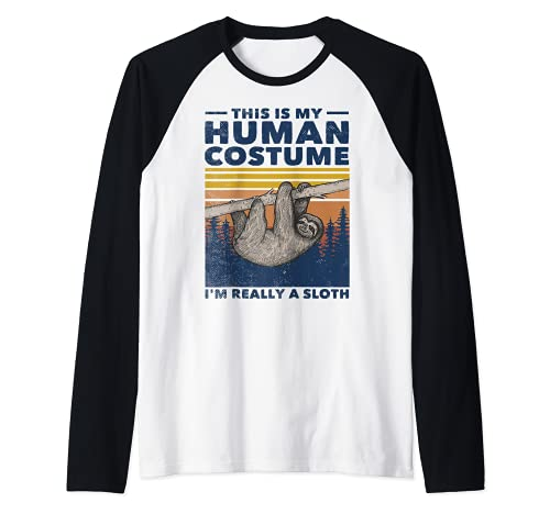 Este es mi disfraz humano soy realmente un perezoso lindo Halloween Camiseta Manga Raglan