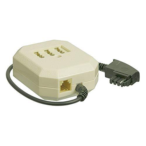 PerfectHD TAE Adapter   TAE-F Stecker auf 3X TAE-NFF Buchse   RJ11 Buchse   0,2m Kabel   Telefonadapter TAE-Adapter Verlängerungsbox   Router Modem Fritzbox Telefon   Schwarz Beige