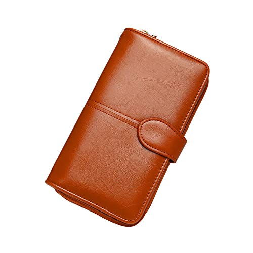 Soluo Women's RFID Blocking Large Capacity Luxury Wax Real Leather Clutch Card Holder Organizer Ladies Purse Big Wallet - brown - One size