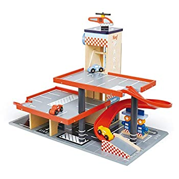 Tender Leaf Toys - Blue Bird Service Station - Classic Wooden Garage and Service Station for Cars and Helicopter with Ramps Petrol Pumps and Car Wash Center - Imaginary and Roleplay for Children 3+