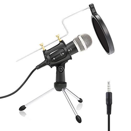 GeekerChip Micrófono per PC,Micrófono 3.5mm con Trípode,Parabrisas y Filtro,para Computadoras Portátiles, Teléfonos, Canto, Youtube