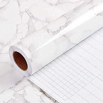 Yancorp White Gray Wallpaper Marble Easily Removable Countertops Grey Wallpaper Film Self-Adhesive Wallpaper Peel and Stick Backsplash Vinyl Kitchen Shelf Liner  White Gray 24 x120