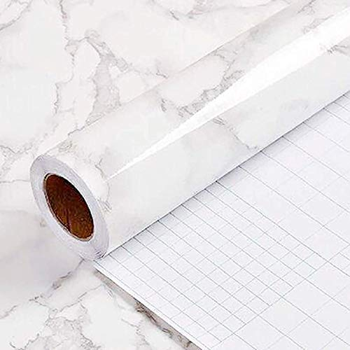 "Yancorp 16""x120"" White Gray Marble Wallpaper Easily Removable Grey Wallpaper Peel and Stick countertops Vinyl Film Self-Adhesive Kitchen Backsplash Decorative Shelf Liner (16""x120"")"