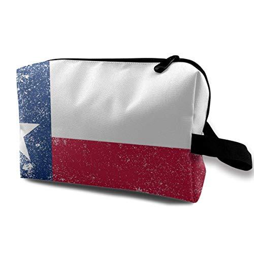 Grunge Texas State Flag Petits sacs à cosmétiques Voyage Maquillage Sac Organisateur à la mode