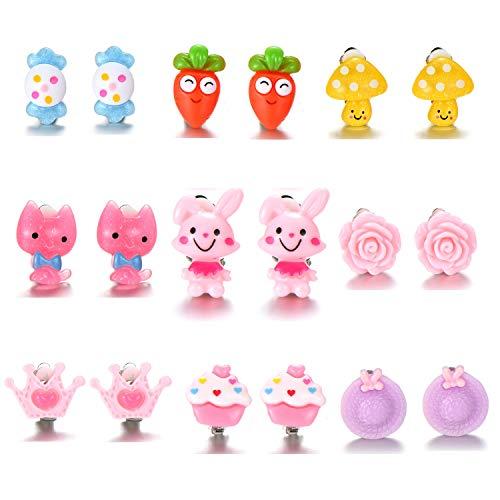 ED-Lumos 9 Paar bunte Cartoon Clip Ohrringe mit Kieselgel für Mädchen Schmuck Set Tiere