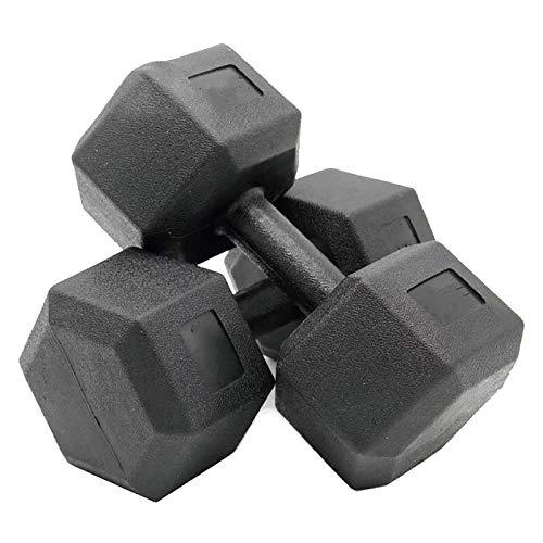 MICEROSHE Mancuernas Duraderas 10kg / 15kg / 20kg Hexagon Hexagon Dumbbell de Las Mujeres con Mancuernas para Mujer Equipo de Aptitud física Experiencia Confortable (Color : Black, Size : 15kg)